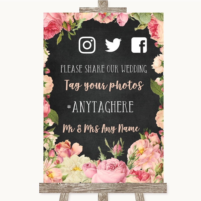 Wedding Hairstyle Hashtags: Wedding Sign Chalkboard Style Pink Roses Social Media